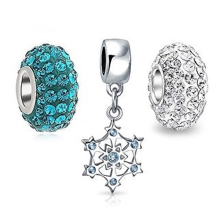 Bling Jewelry 925 Sterling Christmas Snowflake Blue CZ Bead Charm Bundle