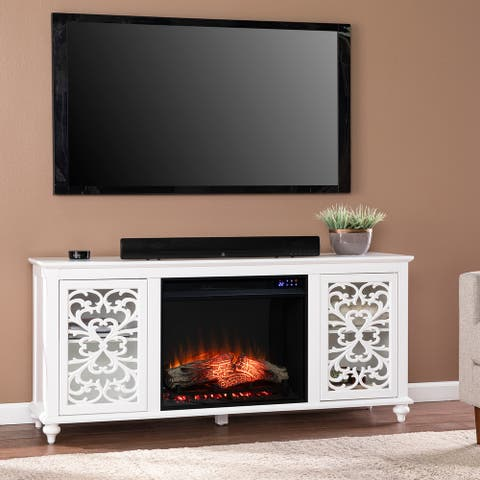 Silver Orchid Mariota Transitional White Wood Electric Fireplace
