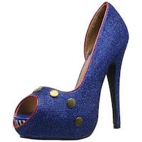 Ellie Shoes Womens Harbor Peep Toe D-orsay Pumps - blug - 7