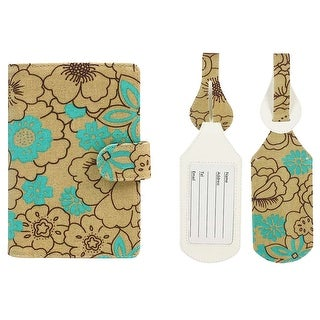 JAVOedge Turquoise Poppy Pattern RFID Blocking Snap Closure Passport Case with Pen Holder and 2 Matching Luggage Tags