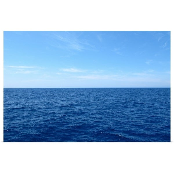 f7dd739fbe47 Poster Print entitled Deep blue Mediterranean sea water with clear blue  summer sky in Ajacio