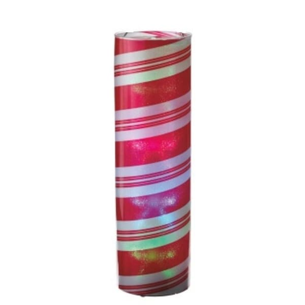 """24"""" Battery Operated Transparent Red and White Striped Spiral LED Color Changing Lighted Hanging Christmas Lantern"""