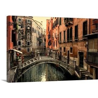 Premium Thick-Wrap Canvas entitled Walking Bridge Over Venician Canal