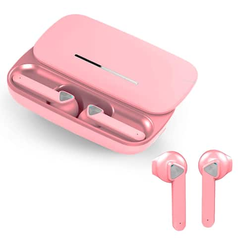 BE36 Sport EarBuds by Indigi® - Long Battery Life - Auto Pairing - Universal Compatibility w/ Magnetic Charging case (Pink)