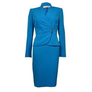 Tahari Women's Notched Collar Pintucked Crepe Skirt Suit - ocean blue - 10P