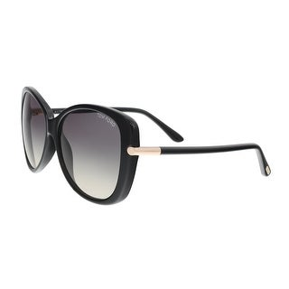 Tom Ford FT0324/S 01B LINDA Black Oversized Oval Sunglasses - 59-14-135