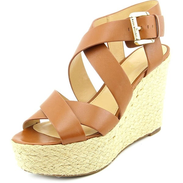6ce147cb4f Michael Michael Kors Celia Mid Wedge Women Open Toe Leather Brown Wedge  Sandal