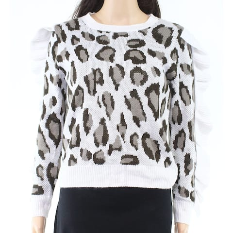 Chaser Womens Sweater Brown Size XS Pullover Leopard-Print Ruffled
