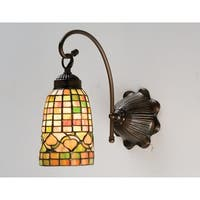 "Meyda Tiffany 18650 Acorns 6"" Wide 1-Light Wall Sconce with Stained Glass Shade - Mahogany Bronze"