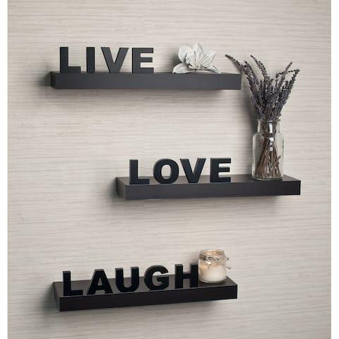 Laminate 'Live, Love, Laugh' Inspirational Wall Shelves (Set of 3)
