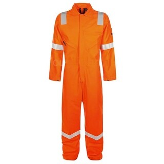 Walls Fr-Industries Mens Orange Reflector Coveralls Work Wear Size 44 Regular