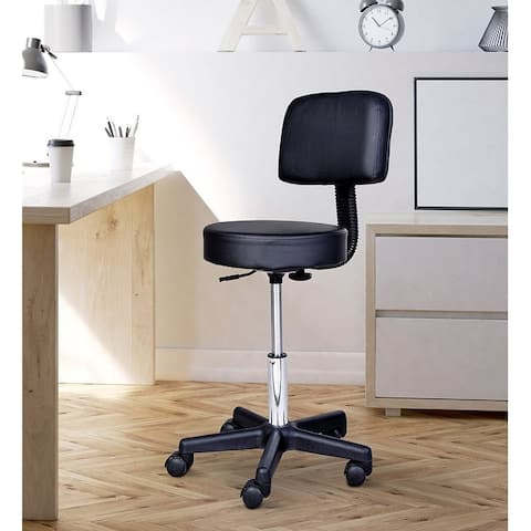 HOMCOM Stool Style Office Chair with Adjustable Height, PU Leather Surface with Padded Cushion and 360 Wheels, Black