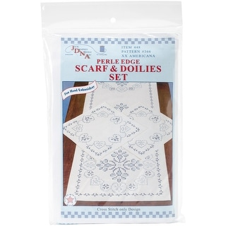 Stamped Dresser Scarf & Doilies Perle Edge-XX Americana