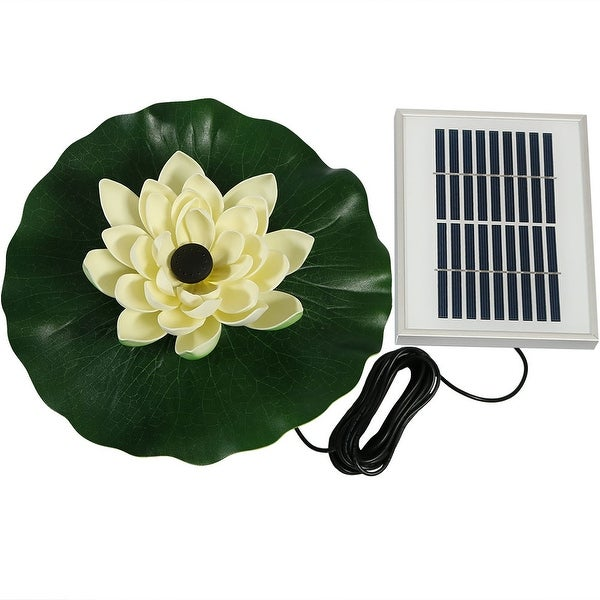 Sunnydaze Floating Lotus Flower Solar-Powered Water Fountain Kit, 48 GPH