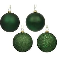 2.4 in. Midnight Green 4 Finish Assorted Color Christmas Ornament