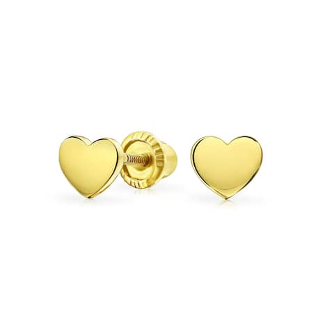 Tiny Solid Real Yellow 14K Gold Heart Stud Earring Real 14K
