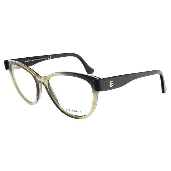 Shop Balenciaga BA5004/V 064 Yellow Black Horn Oval prescription ...