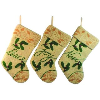 Set of 3 Off White Peace, Joy and Noel Plush Textured Christmas Stockings 17""