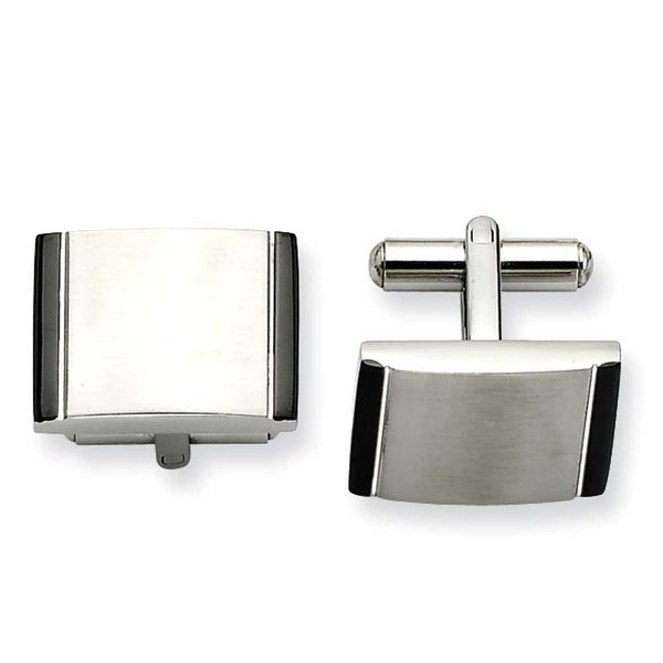 Chisel Stainless Steel Satin with Black Acrylic Cuff Links