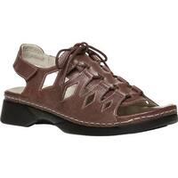 Propet Women's Ghillie Walker Slingback Sandal Brown Full Grain Leather