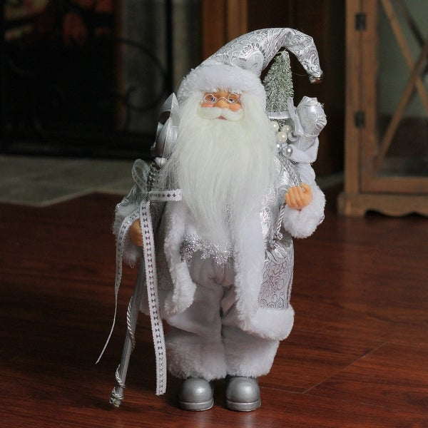 """12"""" Standing White and Silver Santa Claus with Staff and Gift Bag Christmas Figure"""