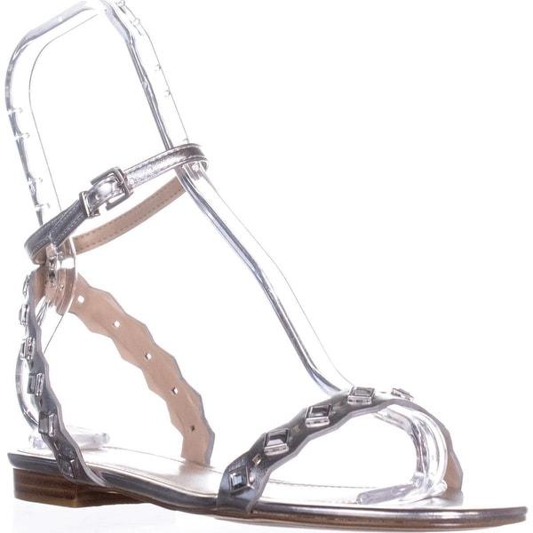 Aldo Amelie Flat Ankle-Strap Sandals, Silver