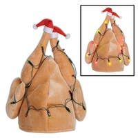 Pack of 6 Lighted Battery Operated Brown Plush Christmas Turkey Hats - Adult Sized