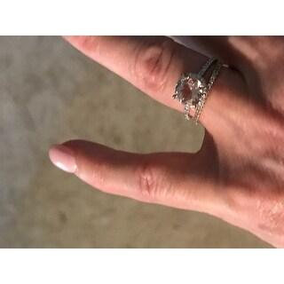Miadora 10k Rose Gold 1 1/6ct Morganite and 1/4ct TDW Diamond Halo Engagement Ring
