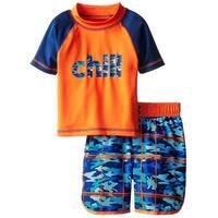 iXtreme Toddler Boys Swimwear Chill Camo Board Short Swim Trunk Rashguard Set