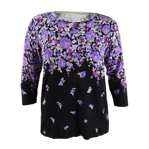 Karen Scott Women's Floral-Print Sweater