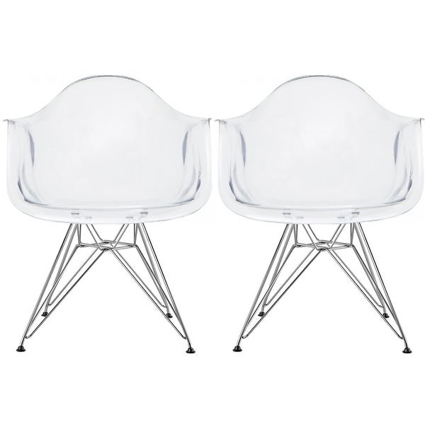 2xhome - Set of 2 Clear Modern Designer Acrylic Plastic Chair With Arms Armchairs Dining Silver Solid Chrome Office. Opens flyout.