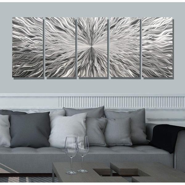 Statements2000 Extra Large Silver 5 Panel Modern Metal ...