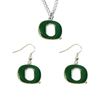 Oregon Ducks Necklace and Dangle Earring Charm Set NCAA