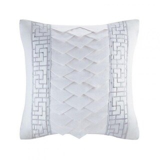18 x 18 in. White Orchid Silk & Cotton Embroidery Square Pillow -