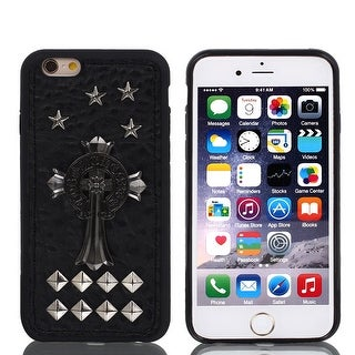 Faux Leather Rivet Decor Guard Case Shell Cover Black w Film for iPhone 6 4.7