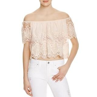 Lucy Paris Womens Crop Top Lace Off-The-Shoulder