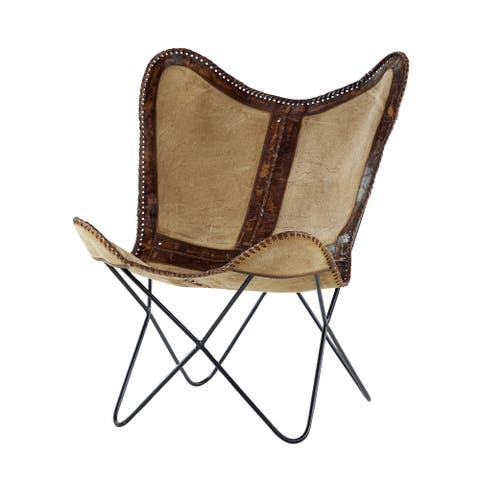 """Brown Leather Canvas Chair with Black Metal Frame 33.5""""L x 37""""H - 29 x 34 x 37"""