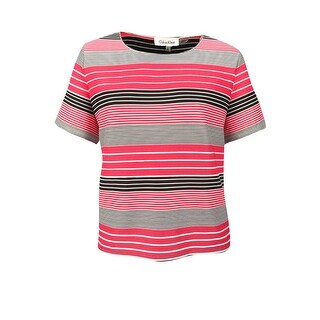 Calvin Klein Women's Plus Size Striped Top - watermelon/soft white