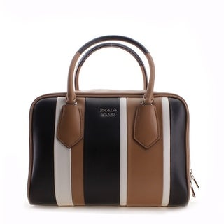 Prada Striped Pattern Calf Baiadera Leather Inside Bag Shoulder Handbag - Brown - M