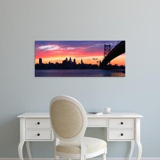 Easy Art Prints Panoramic Images's 'Ben Franklin Bridge, Delaware River, Philadelphia, Pennsylvania' Canvas Art