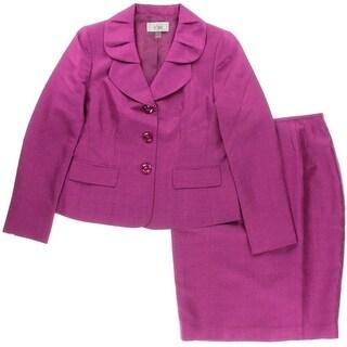 Le Suit Womens Quebec Metallic 2PC Skirt Suit