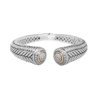 1/2 ct Diamond Hinged Bangle Bracelet in Sterling Silver & 14K Gold