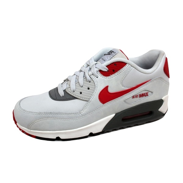 7a502dbc380 Shop Nike Men s Air Max 90 Essential Light Base Grey University Red ...