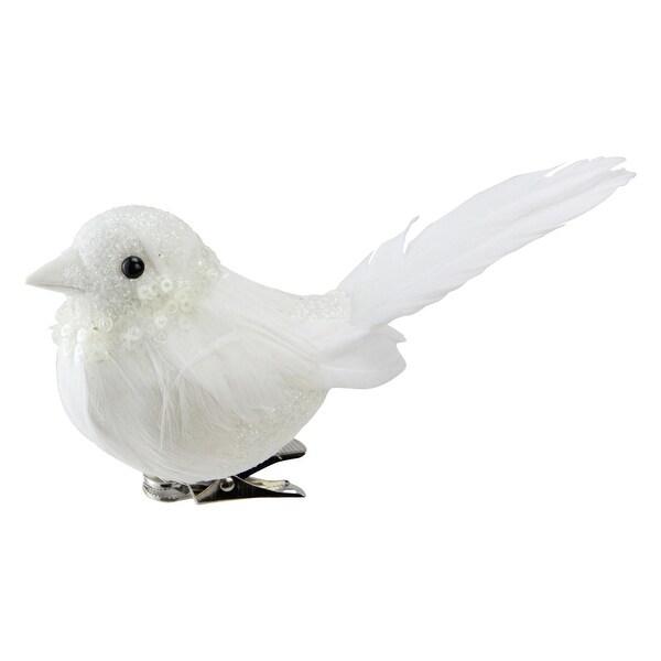 """5"""" Sequence and Glitter Decorative White Bird Clip Ornament"""