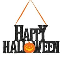 """Pack of 12 Dazzling Red Glittered """"Happy Halloween"""" Decorative Hanging Signs"""