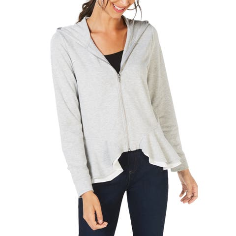 INC International Concepts Women's Layered Peplum Hoodie (M)