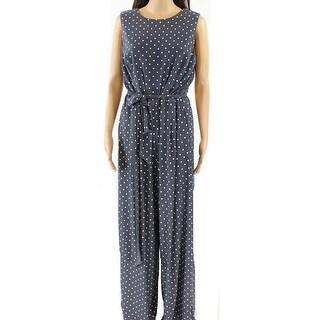 Lauren By Ralph Lauren NEW Gray Womens Size 16 Polka-Dot Jumpsuit