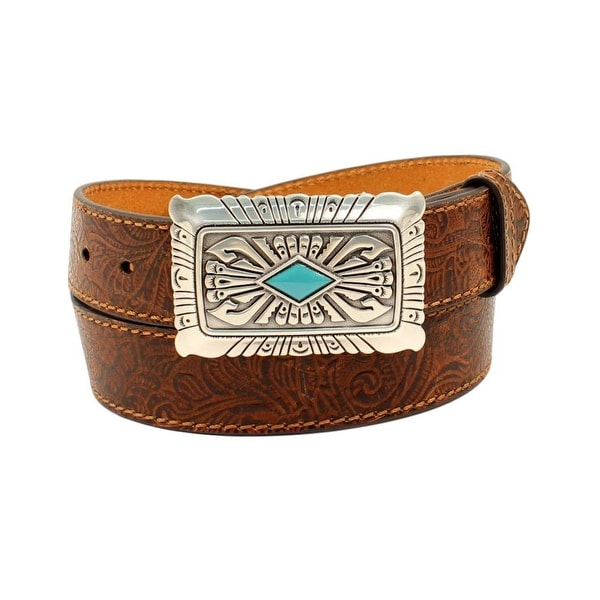 Ariat Western Belt Womens Embossed Strap Turquoise Stone