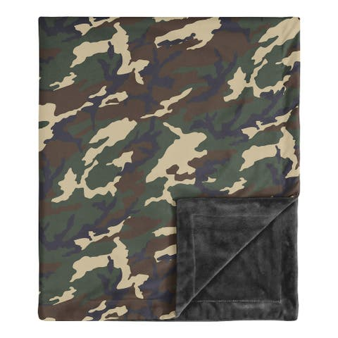 Woodland Camo Collection Boy Baby Receiving Security Swaddle Blanket - Beige Green and Black Rustic Forest Camouflage