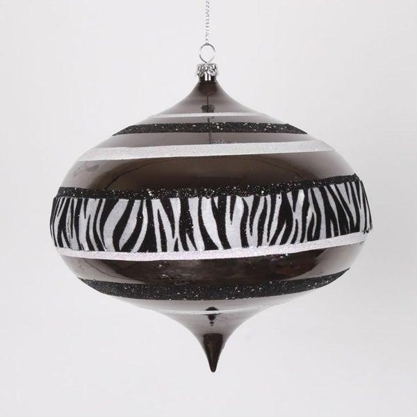 """Diva Safari Zebra Print & Stripes Black and White Commercial Christmas Onion Ornament 6"""" (160mm)"""